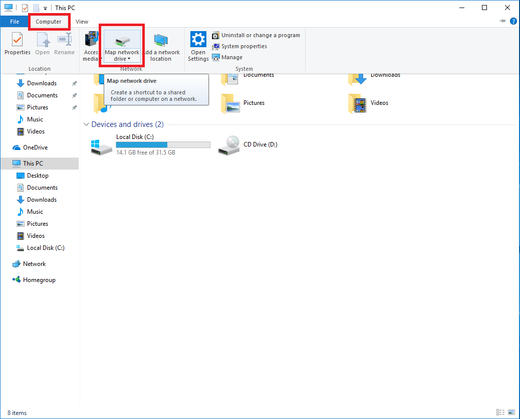 windows 10 how to open drives on the network