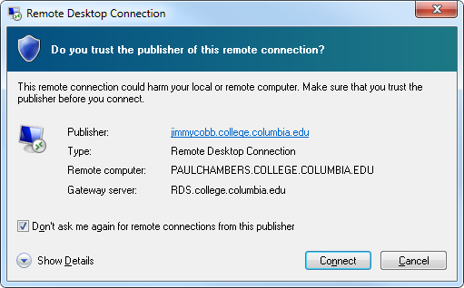 Remote Desktop Connection trust prompt