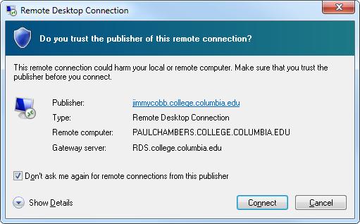 Remote Desktop Connection trust prompt